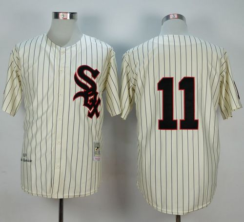 Mitchell And Ness 1959 White Sox #11 Luis Aparicio Cream Stitched MLB Jersey