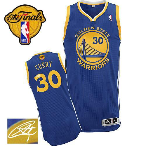 Revolution 30 Autographed Warriors #30 Stephen Curry Blue The Finals Patch Stitched NBA Jersey